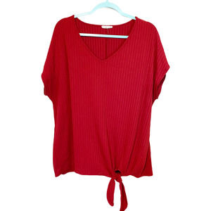 SIREN LILY Red V-Neck Ribbed Short Sleeve Blouse